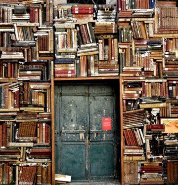 books surrounding a door