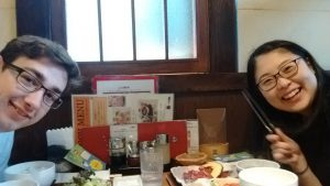 Me and Natsumi eating at 焼き肉 restaurant